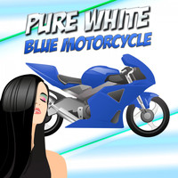 Pure White - Blue Motorcycle