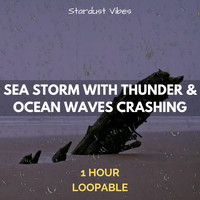 Stardust Vibes - Sea Storm with Thunder & Ocean Waves Crashing: One Hour (Loopable)